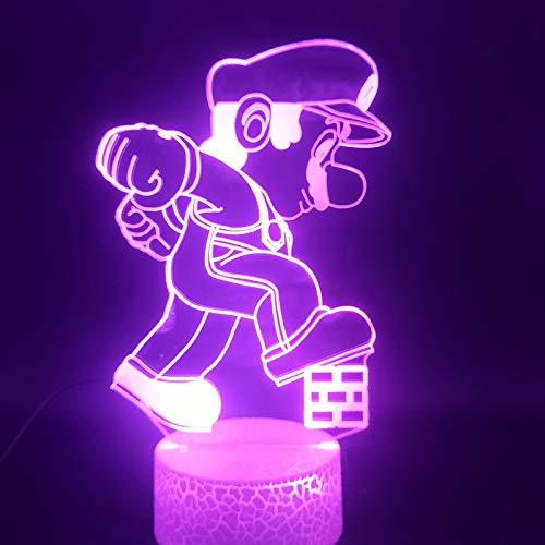 Das Cartoon-Spiel Mario (Mario) Fernbedienung Touch-Sensor mehrfarbige 3D-Lampe wird das beste Geschenk für Kinder, um LED-Nachtlicht zu sammeln