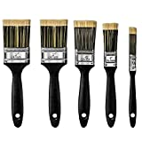 Mokani 5PCS Paint Brushes for Wall & Ceilings with Nice Bristle Paintbrush Heads, Stain Brushes for Woodwork, Fence, Sash, Professional House Brush Set for Architects