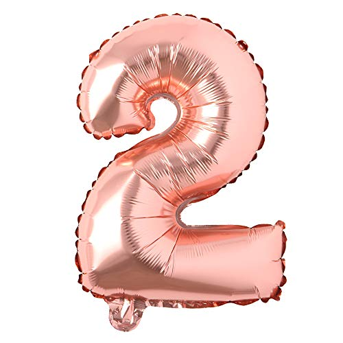 16 inch Single Rose Gold Alphabet Letter Number Balloons Aluminum Hanging Foil Film Balloon Wedding Birthday Party Decoration Banner Air Mylar Balloons (16 inch Rose Gold 2)