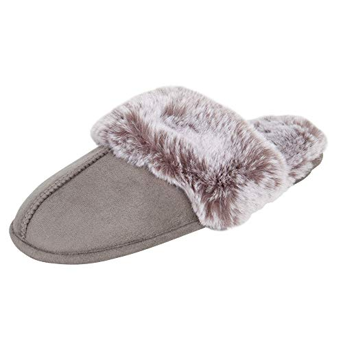 Jessica Simpson Women's Comfy Faux Fur House Slipper Scuff Memory Foam Slip on Anti-skid Sole, Grey, Medium