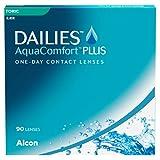 Dailies AquaComfort Plus Lentillas tóricas diarias, Pack de 90, R 8.8 mm, D 14.4 mm, cilindro -0.75, eje 180, -4.00 Diopt