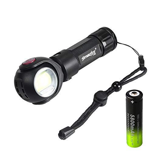 Starnearbyuk T6 + COB 360 ° draaibare lamp LED-zaklamp, verlicht 800 lumen USB-lader IP44 waterdichte camping zaklamp, 500 meter verlichting voor camping wandelen