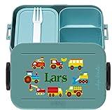wolga-kreativ Brotdose Lunchbox Bento Box Kinder Auto Feuerwehr Bagger mit Namen Mepal Obsteinsatz für Mädchen Jungen personalisiert Brotbüchse Brotdosen Kindergarten Schule Schultüte füllen