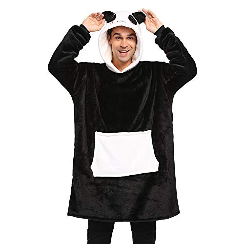Coperta da Divano Panda Coperta con Cappuccio Taglie Forti Unisex Caldo Plaid con Maniche Tasca Divertente Felpone (Nero, Taglie L: Adatto per altezza 170 e 190 cm)