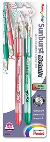 Pentel Arts Sunburst Metallic Gel Pen, Medium Line, Permanent, Red & Green Ink 2 Pack Carded (K908MBP2BD)