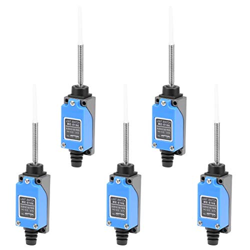 YeVhear ME-8166 - Interruptor de final de carreras momentáneo con muelle helicoidal flexible 1NC + 1NO 5 unidades
