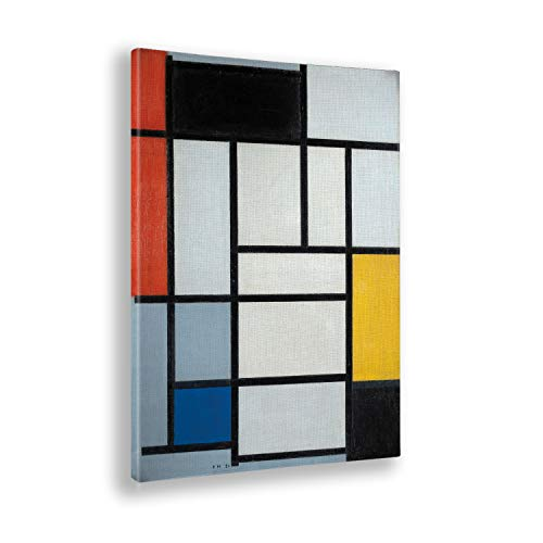 Giallobus - Cuadro - Piet Mondrian - Composición con Rojo Grande Amarillo y Gris - Estampado en Lienzo - Listo para Colgar - Varios tamaños 50x70 cm