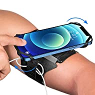 VUP Running Armband for iPhone 12 Pro 11 Pro Max X XR XS 8 7 6 6s Plus,Galaxy S20 S10 S9 Plus, Note 20/10/9/8, 360°Rotatable with Key Holder Phone Armband for Hiking Biking Walking(Black)