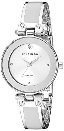 Anne Klein Women's AK/1981LGSV Diamond-Accented Silver-Tone and Light Grey Bangle Watch