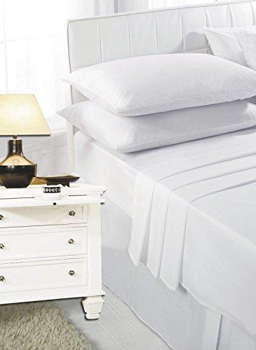 Bianco Singolo Lenzuola in Tinta Unita in Policotone da Textile.Plus