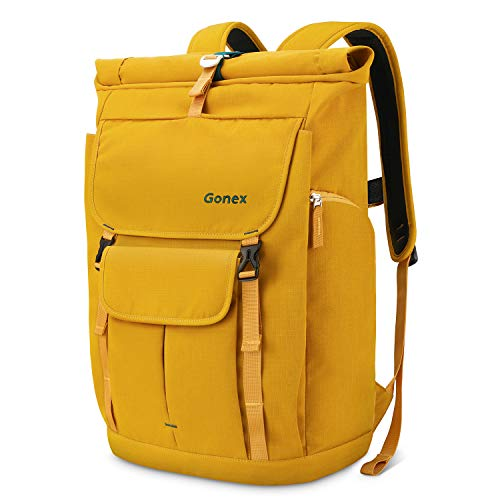 Gonex Travel Laptop Backpack, 30L Casual Roll Top Durable Rolltop Backpack Daypacks for Men Women for Work Office College Students Business Travel Schoolbag Bookbag fits 14 Inch Laptop Yellow