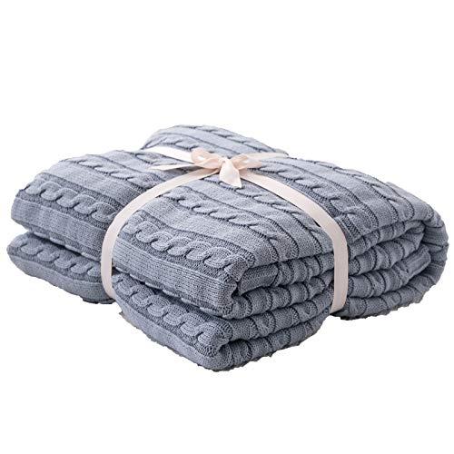 YGWQ Manta de Punto Hecha a Mano para sofá o Manta de Ropa de Cama 100% algodón Suave y Cálida Transpirable Punto de Crochet Cobija,colección otoño-Invierno-Grey Blue||110x180cm(43x71in)