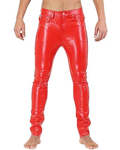 Bockle® F-Skinny Lederhose Herre Kunstlederhose Rot Tube Röhre Skinny Slim Fit Herren, Size: W33/L34