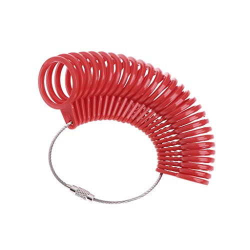 siwetg Fingerringmaß aus Kunststoff zur Schmuckherstellung, Messdorn, Standardgröße, Werkzeuge, Mido Kunststoffring rot