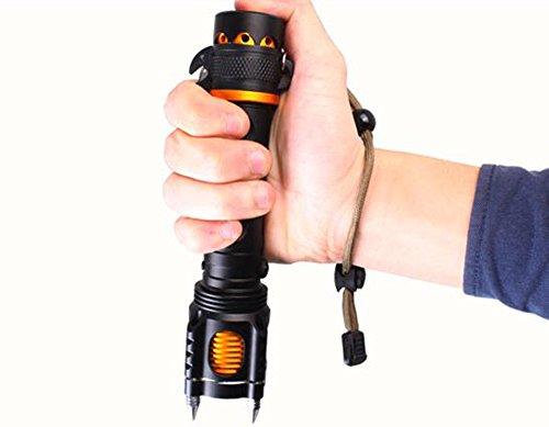 TX Al Aire Libre Linterna Recargable Tácticas De Defensa Personal Flash De Largo Alcance con Zoom Óptico