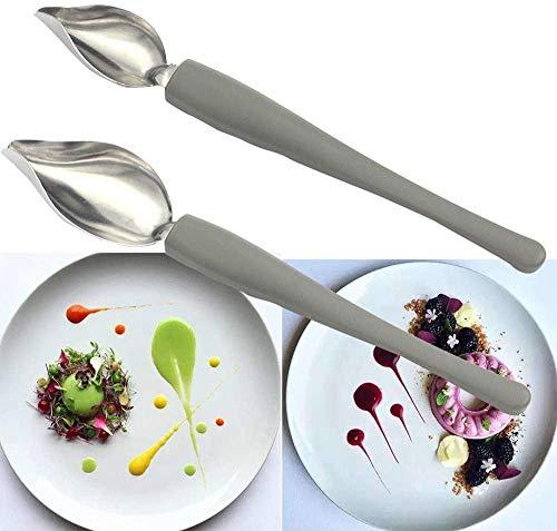 BeggarLord Chef Art Pencil, Dekorationslöffel Set, Soßenmalstift, Kaffeekunst-Zeichenwerkzeuglöffel, Bleistiftlöffel (1 Satz)