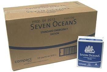 Seven Oceans Lot de rations de survie pour 2 mois, biscuits longue durée 24 x 500 g