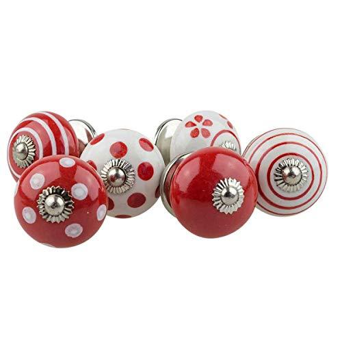 Jay Knopf AV3 - 1 set di 6 pomelli per mobili, in ceramica, stile shabby chic, dipinti a mano