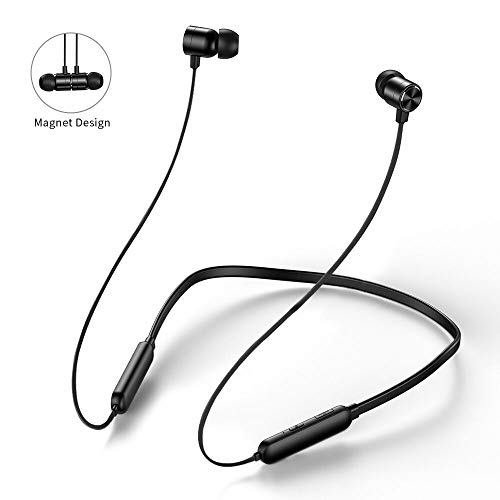 Hotott Auriculares Bluetooth Deportivos, Inalámbricos Auriculares Magnéticos Bluetooth 5.0 In-Ear de Inalámbricos Deportes Auriculares Neckband para iOS Android Móviles Smartphones PC (Negro)