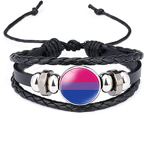 Pulsera de cuero del orgullo gay del arco iris hombres mujeres tiempo gema joyería pareja pulseras regalos 642432289792