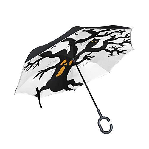 ISAOA Regenschirm, groß, doppelschichtig, Winddicht, UV-Schutz, Regenschirm für Auto, Regen, Outdoor, C-förmiger Griff, selbststehend, gruselige Baum Silhouette Regenschirm