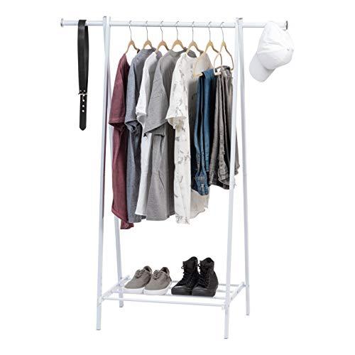 IRIS USA MGR-1 Garment Rack with Metal Shelf White