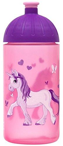 ISYbe Original Marken-Trink-Flasche für Klein-Kinder, 500 ml, BPA-frei, Einhorn-Motiv für Mädchen, geeignet für Schule-Reisen-Kita-Kiga-Outdoor, Auslaufsicher auch mit Sprudel, Spülmaschine-fest
