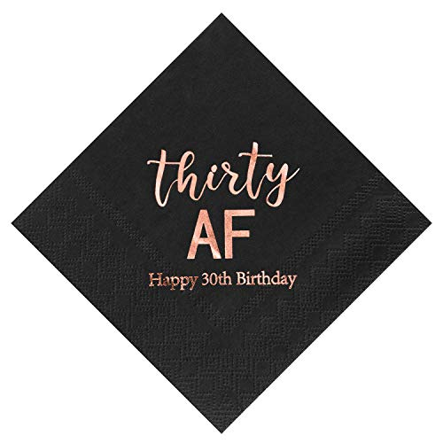 Crisky 30th Birthday Napkins Black Rose Gold for Women 30th Birthday Cocktail Napkins Beverage Napkins 30th Birthday Party Dessert Cake Table Decorations, 50 Count, 3-Ply