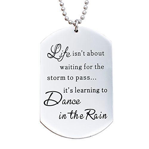 Life isn't About waiting for The Storm to Pass Dance It's Leaning to Dance In The Rain Necklace (White)