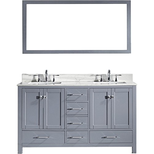 Virtu USA Caroline Avenue 60 inch Double Sink Bathroom Vanity Set in Grey w/Square Undermount Sink, Italian Carrara White Marble Countertop, No Faucet, 1 Mirror - GD-50060-WMSQ-GR