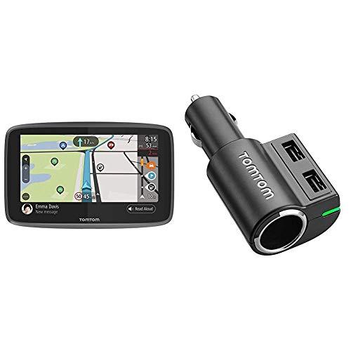 TomTom GO Camper Navegador de 6 Pulgadas (con actualizaciones Mediante Wi-Fi, PDI para caravanas y autocaravanas, mapas para Toda la Vida de Todo el Mundo, TomTom Road Trips) + TomTom Multi Cargador