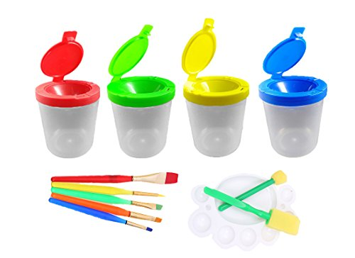 Shoppy 4 Pcs Spill Proof Paint Cups With Lid in 4 Colors And 1 Art Paint Set for Kids Toddler - Including 5 Flat Craft Small Brushes, 1 Painting Tray, 2 Sponge