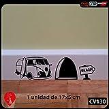 uksellingsuppliers Adhesivo Decorativo de Pared para rodapié, Vinilo, diseño de Agujero de ratón con Furgoneta de surfero 18cm x 5cmFabricante del Reino Unido
