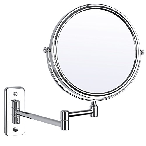 SONGMICS 8'' Two-Sided Wall Mount Makeup Mirror 360° Swivel Extendable 7x Cosmetic Mirror UBBM713