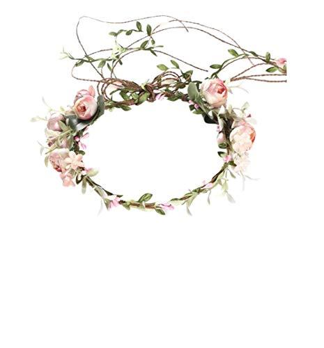 Lalia Vintage Haarschmuck, Kranz, Hochzeit, Blumen elegant Braut cool zum Dirndl, Retrostil Haarkamm Diadem Haarschmuck klar, Perlen, bunt Seidenblumen altrosa, rosa