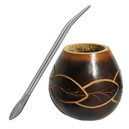 Mate Calabaza Engrabado con Diseño de Hojas, con Bombilla para Tomar Yerba Mate