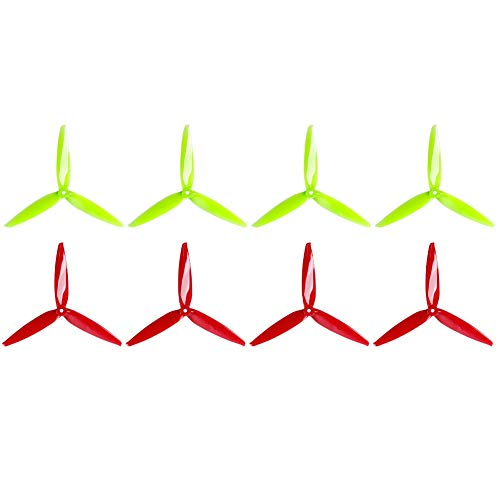 GEMFAN 8pcs Freestyle 7040 3-Blade Propellers 7 Inch Props (7.0 x 4.0) CW CCW for RC FPV Drone Quadcopter (Fluorescent Yellow & Red)