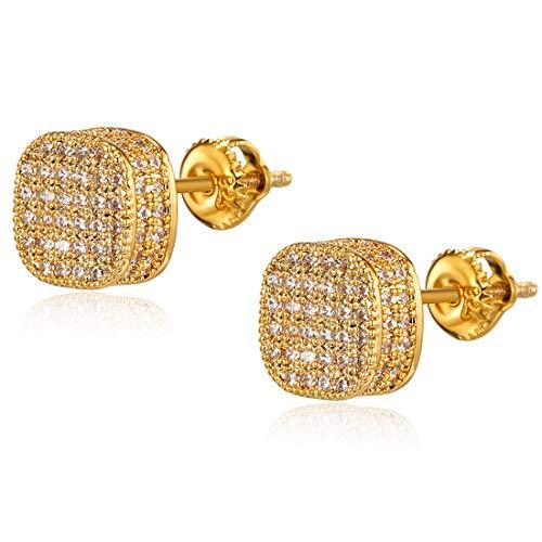 CZ Earrings Stud for Women Girls Men Gold Hypoallergenic Screw Back Earrings Jewelry Stainlss Steel 18k Gold Plated