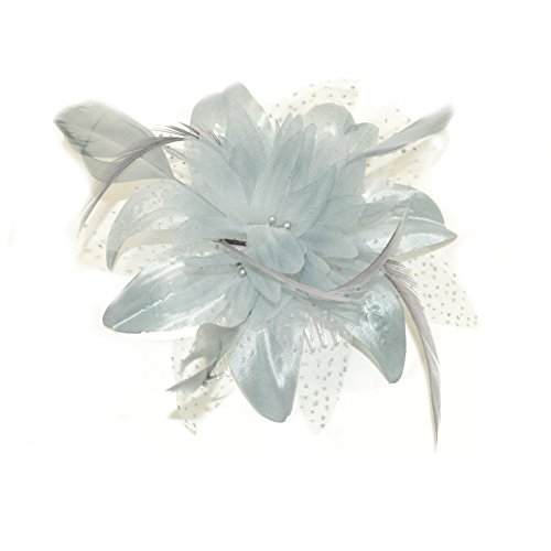 Silver Grey Flower and Spotted Net Bridal Hair Comb Fascinator by Pritties Accessories