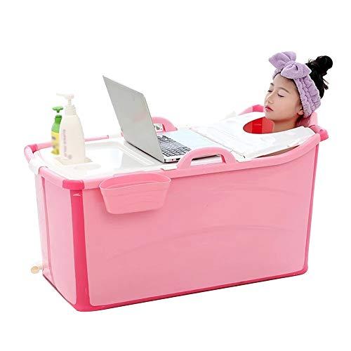 N / A Bañera Plegable para Bebés, Cubo De Baño Portátil con Cubierta para Niños de 0 a 15 años Ideal para Viajes y Hogar, 82x40x44cm (Color : Pink)