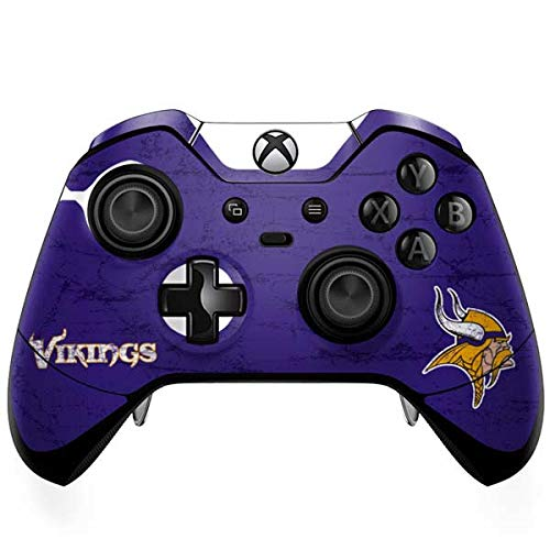 Skinit Decal Gaming Skin for Xbox One Elite Controller - Officially Licensed NFL Minnesota Vikings Distressed Design