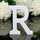 TIANSHU Letras de Madera Decorativas, 26 Letras Letra de Pared del Alfabeto de Madera para niños Nombre de bebé Niñas Fiesta de cumpleaños, Letras de Amor de Madera para Bricolaje (Letra: R)