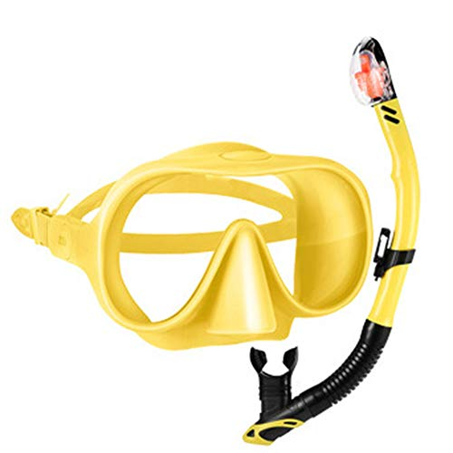 LZHYA Kit De Máscara Y Tubo para Snorkelling, Talla única, Vidrio antivaho Completamente seco, 120 Grados,Kit De Snorkeling, Set De Buceo Máscara De Buceo Snorkel Set (Yellow,S/M)