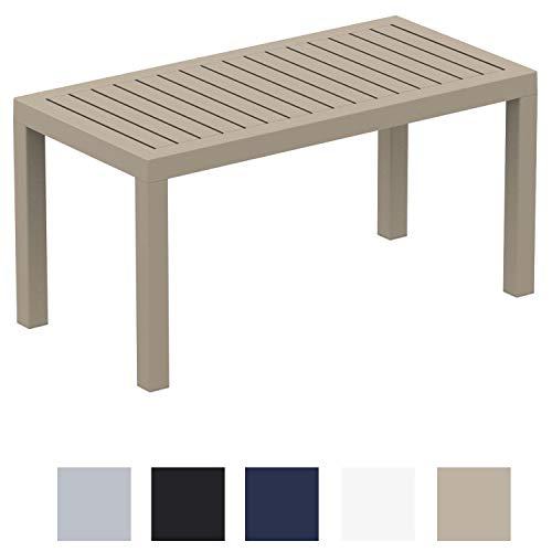 CLP Lounge Tisch Ocean I Wetterfester Gartentisch aus UV-beständigem Kunststoff I wetterfest und UV-beständig I robuster Gartentisch Taupe