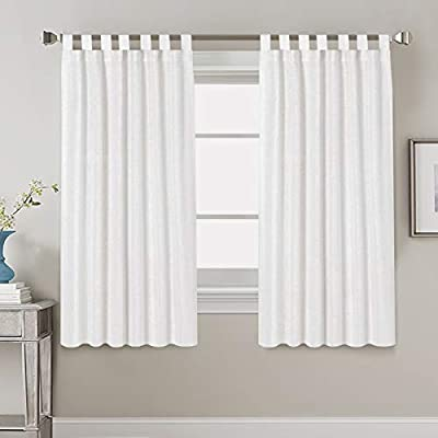 "Linen Curtains Natural Linen Blended Curtains Tab Top Window Treatments Panels Drapes for Living Room / Bedroom, Elegant Energy Efficient Light Filtering Curtains (Set of 2, 52"" x 63""?White)"