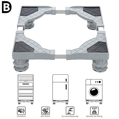 B-D Einstellbare Waschmaschinen Untergestell Sockel Mit 4 Starken Füßen Für Herde Kühlschränke Gefrierschränke Podeste Kühlschrank Halter Halterung 300 Kg Tragfähigkeit,#A