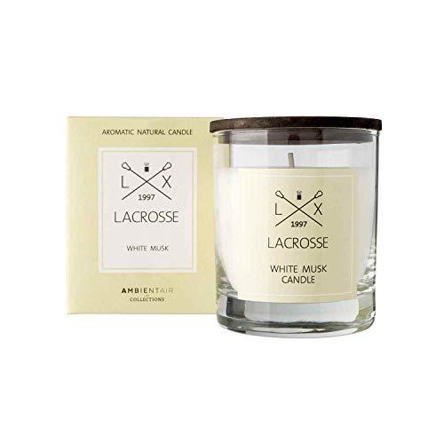 Lacrosse. Vela aromática White Musk. Vela perfumada con cera vegetal y perfume natural con una duración estimada de 40 horas. Disfruta de la aromaterapia en tu casa con estas velas.