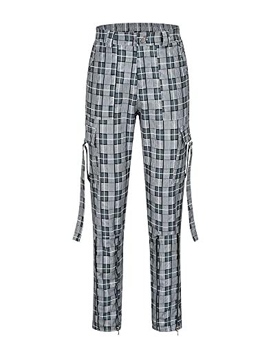 BSaogr Pantalones de carga para mujer, color sólido/estampado a cuadros con cintura alta y bolsillos, gris, M
