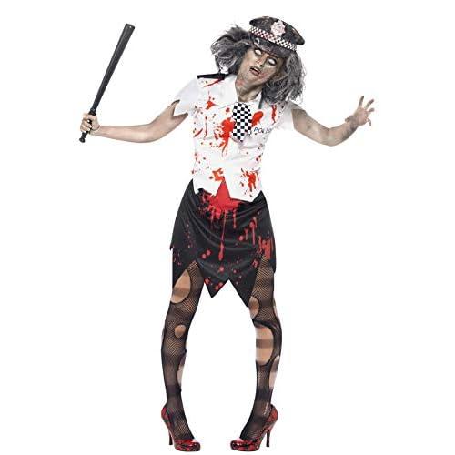 SMIFFYS Costume Zombie Poliziotta, Gonna, Camicia con Cravatta e Cappello