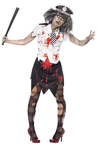 Zombiekostüm Polizistin mit Rock Bluse mit Krawatte und Mütze, Large